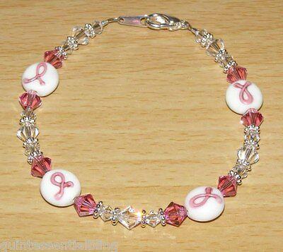 (3P 925 Sterling Silver Swarovski Crystal Elements Pink Ribbon Awareness Bracelet)