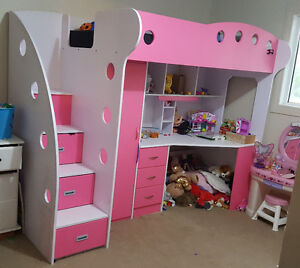 Pink and white loft bed/desk