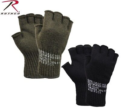 OD GREEN or BLACK Military Fingerless Wool Gloves USA Made Rothco 8410 - Green Gloves
