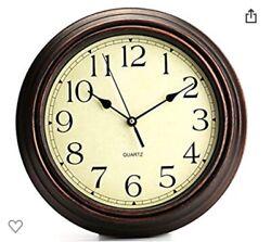 Bekith 12Inch Round Classic Clock Retro Non Ticking Quartz Decorative Wall Clock