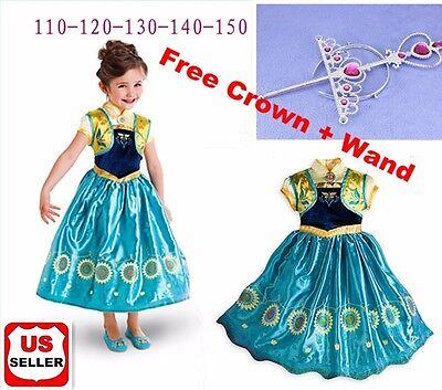 Frozen Fever Birthday Party Elsa Anna Costume Cosplay Dress  + Free Crown & Wand - Elsa Dress Frozen