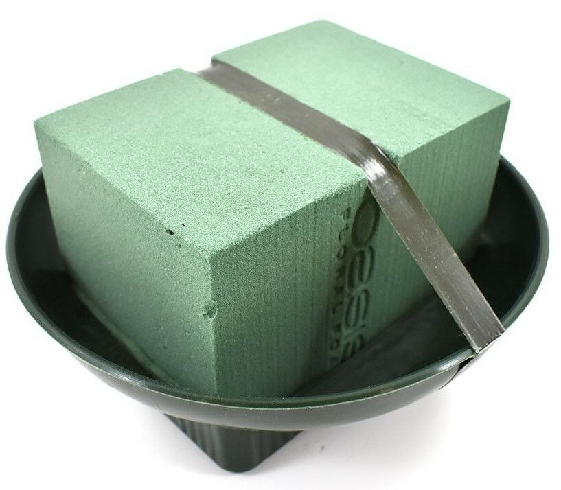 GREEN PLASTIC SQUARE BASE ROUND BOWL FOR OASIS® FLOWER FLORAL FLORIST TABLE TRAY