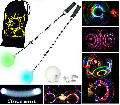 Flames N Games Pro LED Glow Poi + BAG (STROBE) Poi Spinning, Juggling, Circus