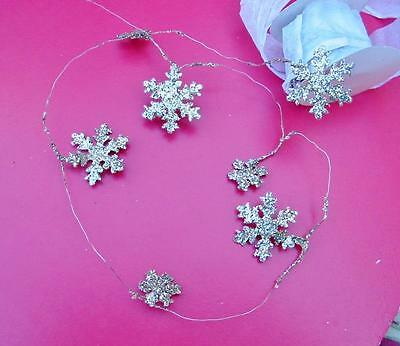 Mini Metal Tiny Snowflake Christmas Garland 80 inches Wired