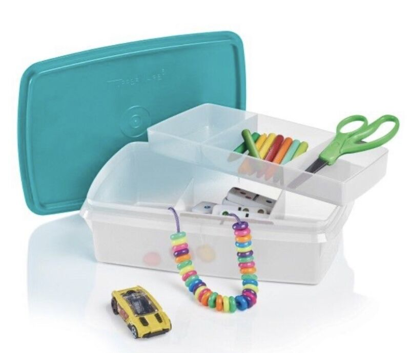 TUPPERWARE STOW N GO DIVIDED SECTIONAL TRAY COIN CRAFT TACKLE SEWING BOX BLUE