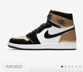 Air Jordan 1 Retro High OG ''Gold Toe'' Black Gold NRG | Size UK 5.5 BRAND NEW