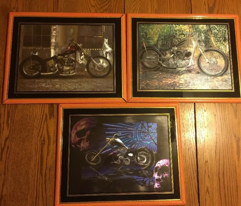 3 Foiled Motorcycle Print Pictures Fantasy with Skulls