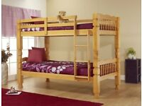 oak sinlge chunky style childern wooden bunk bed frame in white and pine wood colour + mattress