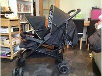 Kiddicare Kodi double pram/buggy IMMACULATE condition. With rain cover and newborn snug.