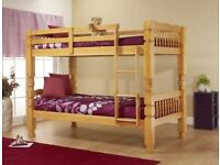 same day drop brand chunky pine wooden bunk bed frame with 3ft 9inch semi orthopedic mattress