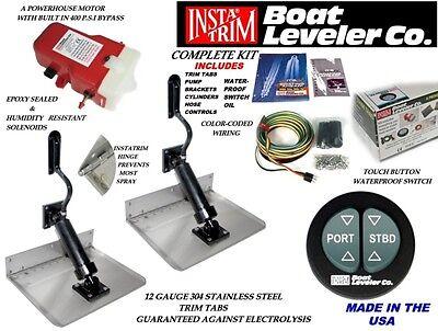 "Insta Trim Boating Marine Trim Tab Kit 12""x 9"" Water Proof Switch"