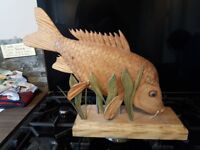 2 X Amazing Handcrafted Mirror/Common Wooden Carp Sculptures