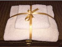 New White Bath Towel Gift Set. Soft Fluffy Towels, Guest Towels, Bath Sheets, Wedding Gift