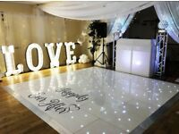 White Star Lit Dance Floor Hire, Photo Booths & Magic Mirrors, LOVE Letters, Sound & Lighting