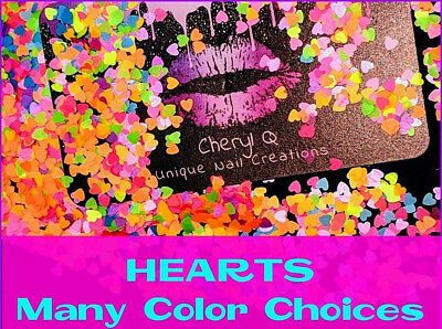❤HEART Shape~U Choose Color❤Nail Art•Acrylic•Gel•Body Art•Face•Festival•USA](Glitter Heart)
