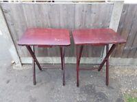 2 Small Dark wood Folding Tables