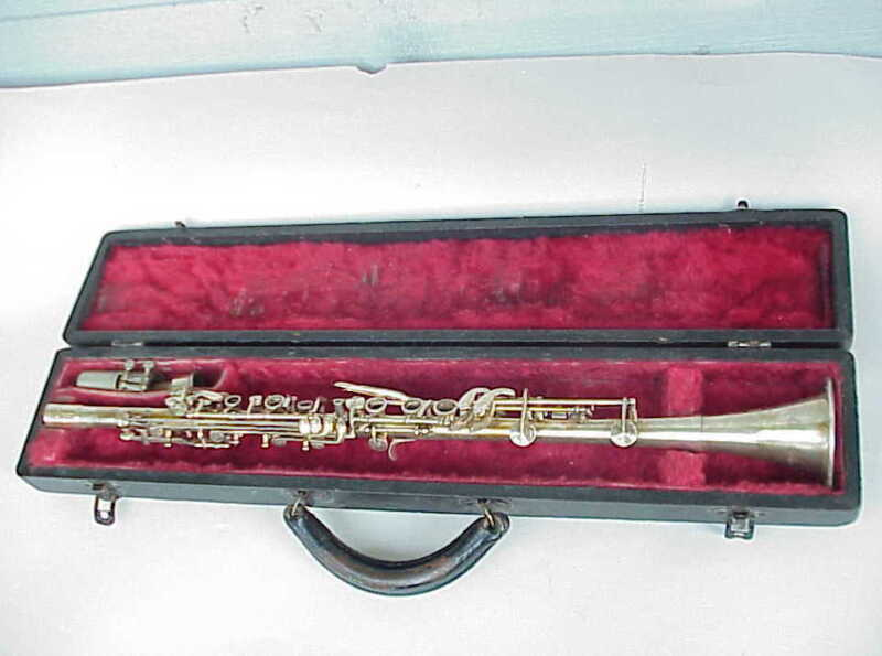 Antique Hoosier Elkhart IN Silverplate Clarinet.