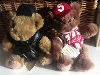Postman and baseball teddy with tags