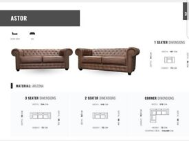 SOFA SALE PRICES: THE STUNNING ASTOR CHESTERFIELD SOFA RANGE: 3+2 SETS, CORNER SOFAS, ARM CHAIRS
