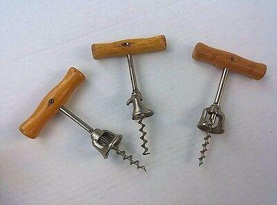 Vintage Corkscrew Lot of 3 Wood Handles