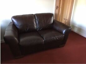2-Seater Settee / Sofa – Brown Leather ** EXCELLENT CONDITION **