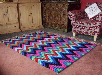 Felt Rectangular Carpet - Rectangular Felt Balls Carpets 6x4 ft- Felted woolen Balls Rugs-FR033