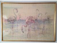 Fritz Rudolf Hug (1921-1989) Signed limited edition print (62/150), Flamingos 1967.