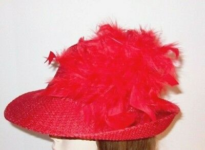 Red Chandelle Feather Gold Tone Hat Pin Society Ladies