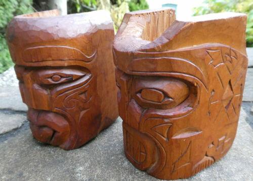 Northwest Coast1968 PAIR Cedar Mask Face Carvings Signed Canada Aboriginal Art