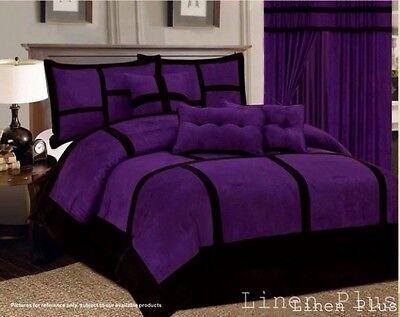 Comforter Curtain Sheet Set Patchwork Purple Black Micro Suede King Size (Black Microsuede Comforter Set)