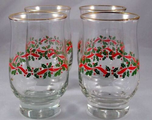 4  Libbey Christmas Holiday Holly Berries 14 oz Tumbler Glasses Arby