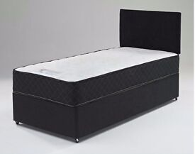 """GET IT TODAY: NEW SINGLE DIVAN BED WITH 10"""" WHITE ORTHOPEDIC MATTRESS -- SAME DAY QUICK DELIVERY"""