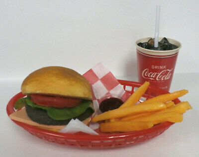 Fake Food Diner Car Hopcheeseburger Fries W 50s Red Coke Cup
