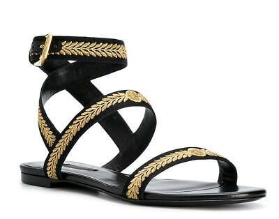$895 New VERSACE Black Gold Medusa Leaves 36 Sandals Shoes