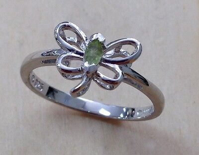 (0.07ctw GENUINE PERIDOT STONE DRAGONFLY STERLING SILVER RING #7 NEW!!)