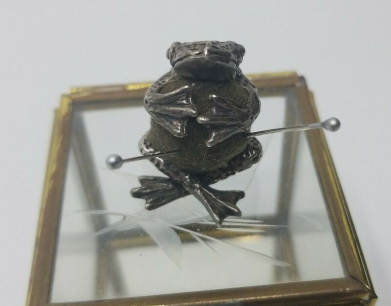 Antique Edwardian Sterling Silver Frog Sewing Pin Cushion
