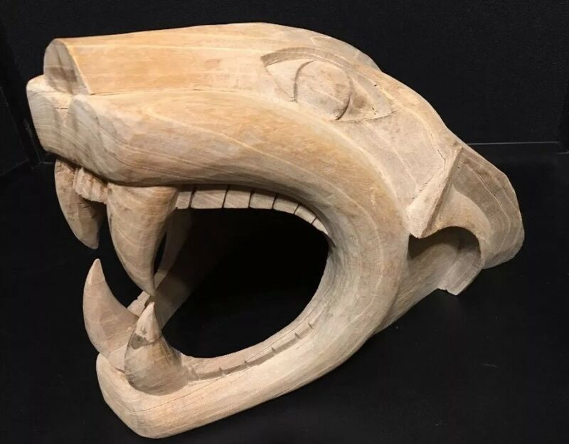 Wooden Carved Wild Cat Nittany Lion Cougar Mountain Lion Head Football Tailgate