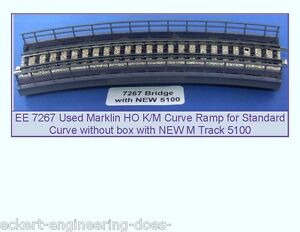 EE-7267-EXC-Marklin-HO-K-M-Curve-Bridge-Ramp-with-NEW-5100-M-Track-Curve-NBX