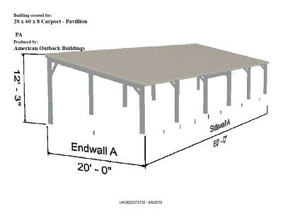 Galvanized Steel Carport Or Pavillion-20 X 60 X 8 Metal Building Kit--delivered