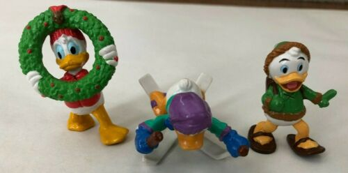 Vintage DONALD DUCK and LOUIE Christmas Wreath PVC Toy Figurines Lot of 3 Skiing