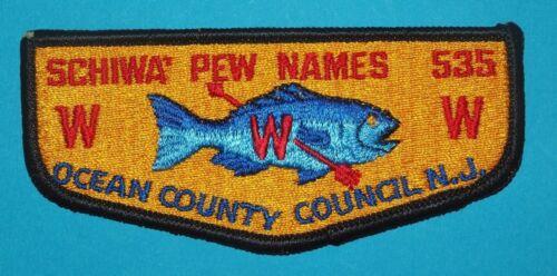 SCHIWA PEW NAMES OA LODGE 535  S1 OCEAN COUNTY COUNCIL  -  BOY SCOUTS   - 8372