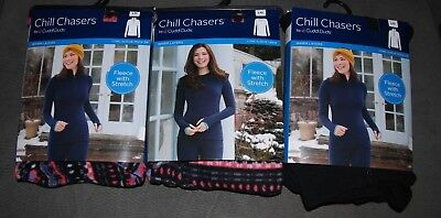 Chill Chasers Cuddl Duds Fleece stretch warm layer long sleeve crew OR mock zip