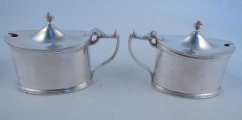 PAIR OF CHATTERLY STERLING SILVER MUSTARD POTS ENGLISH COBALT LINER