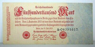 1923 Germany - Berlin 500,000 Mark Banknote - P 92 - Serial # A08351617