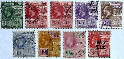 BRITISH GUIANA #178-197, MR1: F/VF Used 'KGV' - Part set of 8 + War Tax issue
