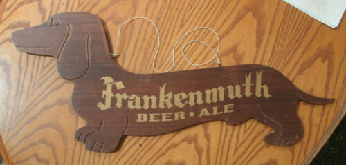 "Vintage. 1940 Frankenmuth Beer Ale Sign Dachshund Dog Bar Tavern 24""  Great Cond"