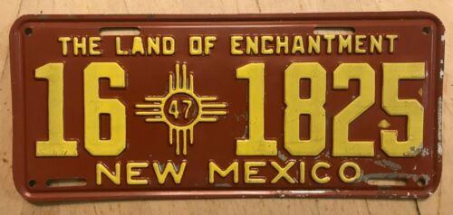 """1947 NEW MEXICO  AUTO LICENSE PLATE """" 16 1825 """"  NM 47 ALL ORIGINAL CONDITION"""