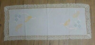 (Vintage Embroidered Dresser Scarf ~Table Runner 42