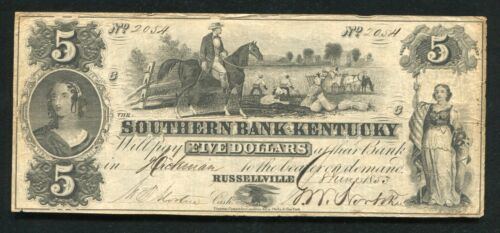 1853 $5 THE SOUTHERN BANK OF KENTUCKY RUSSELLVILLE, KY OBSOLETE CURRENCY NOTE