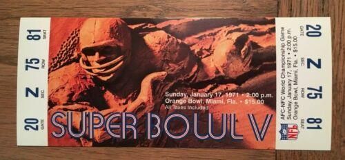 NFL SUPER BOWL V REPLICA TICKET STUB BALTIMORE COLTS 1971 JOHNNY UNITAS ORANGE B